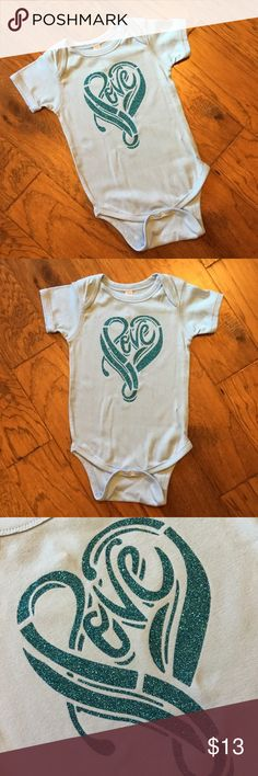 Love Glittery Baby Bodysuit/Onesie 100% cotton onesie that fits true to size. The glitter will not fade or flake wash after wash and wear after wear! Rabbit Skins One Pieces Bodysuits