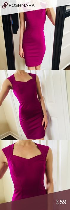 "White House Black Market | Purple Fuchsia Dress |2 Gorgeous! Clean condition! No visible holes or stains. Unique cut out in back.   Size 2. My waist measures 27"" and I am 5'8. White House Black Market Dresses Midi"