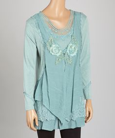 Another great find on #zulily! Aqua Layered Linen-Blend Tunic by Pretty Angel #zulilyfinds