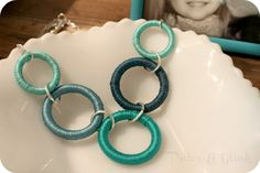 Plastic hoops + embroidery floss. So easy!