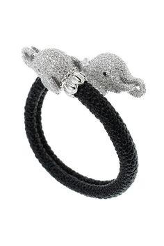 Pave CZ Elephant Stretch Bracelet