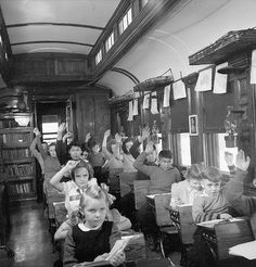 The school train - First Nation Finnish Norwegian French and British children inside a school train at Nemigos near Chapleau Ontario Flipped Classroom, School Classroom, Instructional Technology, Educational Technology, Kids Sites, Schools Around The World, Languages Online, Classroom Training, Interview Questions And Answers