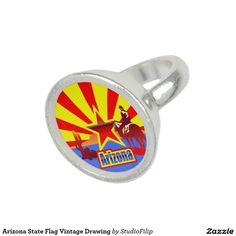 Arizona State Flag Vintage Drawing Photo Ring