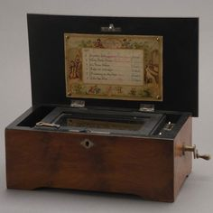 Swiss Walnut Burl Wood Cased Single Cylinder Music Box with Six Songs {Dimensions 5 x 12 x 6 inches} [Key]. on Aug 2012 Antique Music Box, Vintage Music, Walnut Burl, Music Machine, Wishing Well, Picture On Wood, Sound Of Music, Harp, Auction