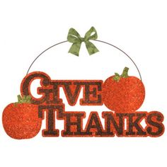 Give Thanks Glitter Sign 11.5in x 13.5in with Ribbon - 1 count