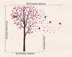 Items similar to Baby Nursery Wall Decals - Cherry Blossom Tree Wall Decal - Birds Decal - Large: approx x - on Etsy Bird Wall Decals, Tree Decals, Nursery Wall Decals, Wall Sticker, Wall Art, Nursery Stickers, Cherry Blossom Tree, Blossom Trees, Blossom Tree Tattoo
