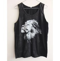 Lion Animal Stone Wash Vest Tank Top M