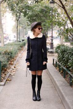 20 Ways to Wear Knee High Socks   StyleCaster  neeeeeed this coat!!!!