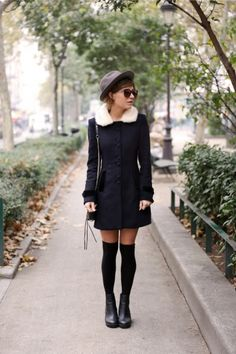 20 Ways to Wear Knee High Socks | StyleCaster  neeeeeed this coat!!!!
