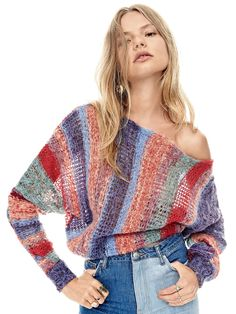 Horizon Pullover at Free People Clothing Boutique Moda Crochet, Knit Crochet, Knit Fashion, Fashion Outfits, Womens Fashion, Chaleco Casual, Hand Knitting, Knitting Patterns, Knooking