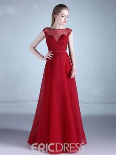 Ericdress Cap Sleeves Appliques Beaded A Line Evening Dress