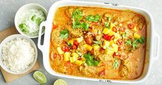Using family-friendly chicken thighs, mango and coconut cream, this creamy chicken curry is made easier by cooking it in the slow cooker. Mango Chicken Curry, Creamy Chicken Curry, Slow Cooker Curry, Slow Cooker Chicken, Crockpot Recipes, Chicken Recipes, Cooking Recipes, Budget Recipes, Chicken Meals
