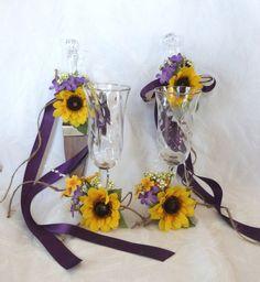 Sunflower wedding Cake Service Set Bride by ChurchMouseCreations, $40.00