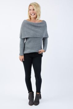 Off Shoulder Ribbed Sweater by IDOL MINDS - EVEREVE