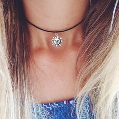 jewels blonde sun blonde hair necklace moon choker necklace leather silver