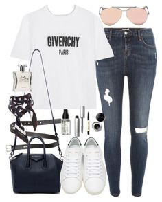"""outfit with jeans and sneakers"" by ferned ❤ liked on Polyvore featuring Acne Studios, River Island, Givenchy, Alexander McQueen, Laila, Yves Saint Laurent, Bobbi Brown Cosmetics and Gucci"
