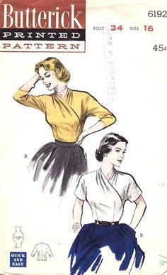 Vintage Butterick Blouse Pattern No. 6192 Copyright 1952