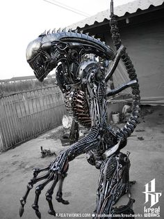 240cm Biomechanical Recycled Metal Alien by Kreatworks on Etsy.