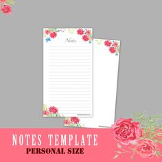 PERSONAL Size Inserts Notes Template Personal Inserts A5 Inserts Printable Planner Personal Planner Weekly Agenda Notes Page Filofax Kikki K