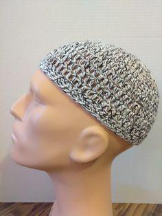 White, black, and peach kufi beanie skullcap crochet medium by Nadeerah on Etsy