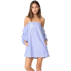 MLM LABEL Pillar Dress ($185) ❤ liked on Polyvore featuring dresses, powder blue check, crop dress, puffy sleeve dress, check print dress, gingham print dress and puff shoulder dress