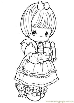 Precious Moments 07 printable coloring page for kids and adults