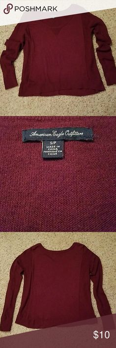American Eagle Outfitters Sweater Size S/P,  slight high low hemline, sweater is  lightweight. Cranberry color. American Eagle Outfitters Sweaters Crew & Scoop Necks