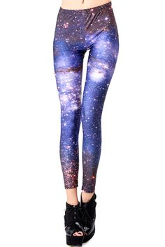 Starry Night Print Leggings. Description  These Leggings have been crafted from elastic fabric design, featuring brief styling with starry night print look design, a stretchy waist and all in a soft-touch stretch finish.  Fabric 97%Polyester,3%Spandex  Washing  40 degree machine wash, do not bleach , do not tumble dry, do not dry clean. #Romwe