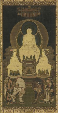 Buddhist triad: Sakya, Manjusri and Samantabhadra. Artist: Kose Arishige. Origin: Japan. Date: 16th century. Period: Muromachi period.