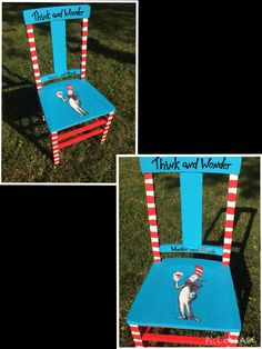 Dr. Seuss painted chair
