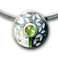 Caroline Delzoppo enameled pendant with set stone - fabulous!