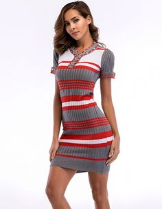 1f5f8d0ad4b Summer Short Sleeve Striped Knit Bodycon Dress – FADCOVER Striped Knit