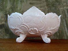 Vintage Pink Milk glass Lombardi Bowl by edithandolive on Etsy, $36.00