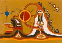 Jackson Beardy (Oji-Cree, The Nativity, Acrylic on canvas, x cm. Woodlands School, Nativity Painting, Modern Indian Art, Catholic Bishops, Advent Season, Native American Artists, Epiphany, First Nations, Around The Worlds
