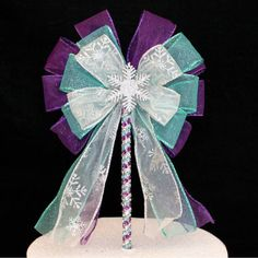 Snowflake Birthday Bow Cake Topper Wedding Cake Pick - Package Perfect Bows