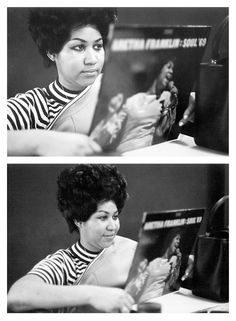 Aretha Franklin listening to her record at Atlantic Records NYC 1969.
