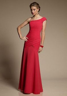 Fashion Chiffon Mermaid Floor Length One Shoulder Bridesmaid Dress - 1300252031B - US$100.79 - BellasDress