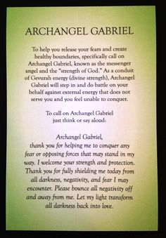 A short prayer/meditation for Archangel Gabriel by Rebecca Rosen.   Beautiful…