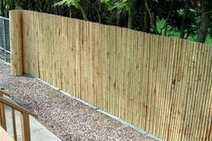 Have an ugly chain link fence? Cover it up with rolled bamboo fencing. This would be great for our yard! LS