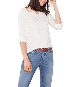 ESPRIT 086EE1K011, T-Shirt À Manches Longues Femme, Blanc (OFF WHITE), 40 (Taille fabricant: Large): Tweet