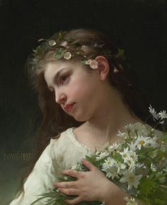 Jules-Cyrille Cave (A student and follower of Bouguereau) Girl with a Bouquet of Daisies, 1897 Oil on canvas