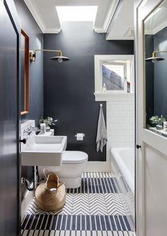 Black bathroom walls and cle tile floors | Sophie Burke Design