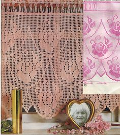 CROCHET: Filet  Valance / Curtains with diagram