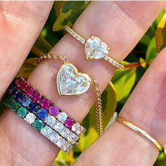 """d62ec534a @ylang23 on Instagram: """"The ✨⚡️sparkle of @shayjewelry. New arrivals for  Mom. . . #heart #diamond #ombre #gemstones #ring #pendant #stackrings"""""""
