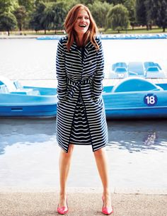 black and white striped trench coat