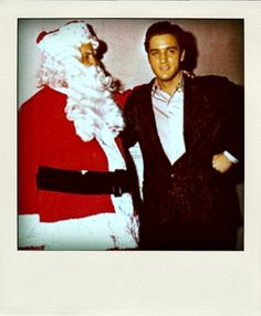 Elvis with Santa. Wow I have never seen  pictures of Elvis with Santa...