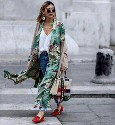Woman Printed Kimono Coat Contrast Belt Piping Green Long Jacket Hot Sm L Kimono Coat, Kimono Cardigan, Long Kimono Outfit, Cardigan Outfits, Look Fashion, Street Fashion, Trendy Fashion, Mode Outfits, Casual Outfits
