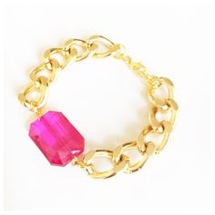 This bracelet features a hot pink facet jewel bead which hangs on chunky aluminium chain.  With a choice of either silver or gold, this gorgeous piece of arm candy can be worn alone or together with other bracelets for a stacked layered look.  Bracelets are available in; 6, 7 or 8 inches in length with a 5 cm chain extender to ensure the perfect fit.  This bracelet is also available in other colors, click below: https://www.etsy.com/uk/shop/ChristiaBijoux?search_query=facet+jewel+chunky