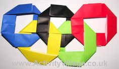 Origami Olympic rings, site contains fantastic collection of Olympic themed activities, crafts, and worksheets/writing prompts. Kids Olympics, Winter Olympics 2014, Summer Olympics, Olympic Games For Kids, Olympic Idea, Olympic Crafts, Summer Games, Ring Crafts, Thinking Day