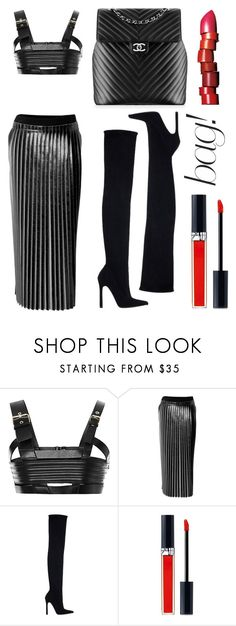 """""""Fausto Puglisi leather top, Damir Doma skirt, Chanel 'Chevron' backpack, Zara thigh heels and Dior Rouge Brillant lipgloss."""" by anastassiablog ❤ liked on Polyvore featuring FAUSTO PUGLISI, DAMIR DOMA, Zara, Chanel, Christian Dior and NARS Cosmetics"""